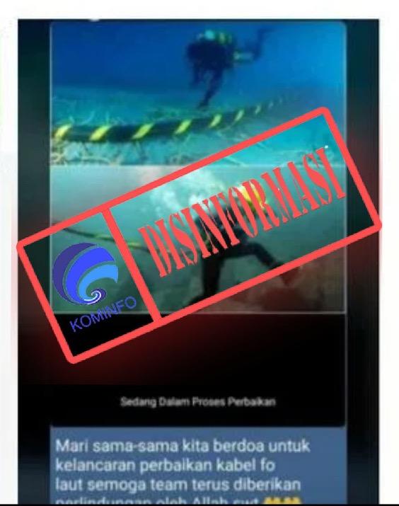 [DISINFORMASI] Foto Perbaikan Kabel Internet Bawah Laut IndiHome