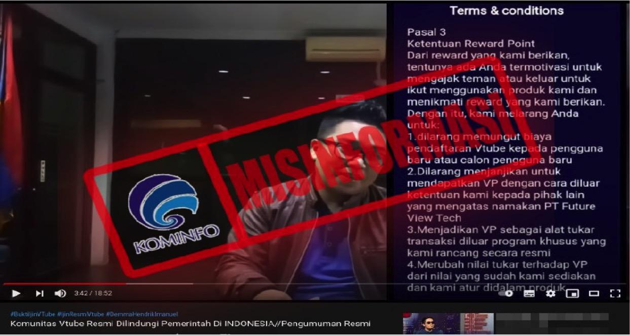 [MISINFORMASI] Vtube Resmi Dilindungi Pemerintah Indonesia