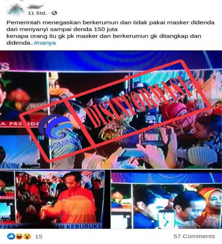 [DISINFORMASI] Foto Presiden Jokowi Berkerumun dan Tidak Menggunakan Masker