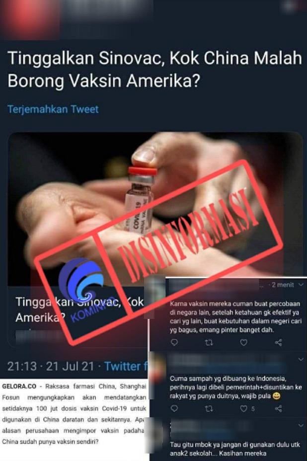 [DISINFORMASI] Cina Tak Lagi Gunakan Vaksin Sinovac dan Indonesia telah Ditipu