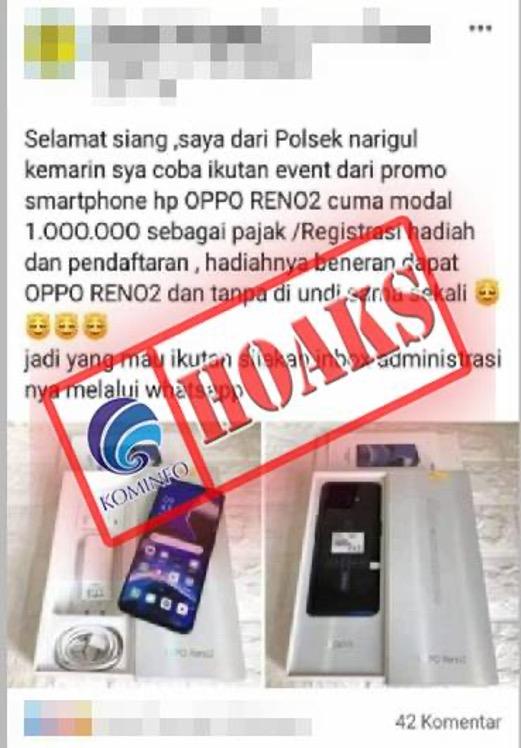 [HOAKS] Penawaran Promo Handphone oleh Akun Facebook Polsek Naringgul Cianjur