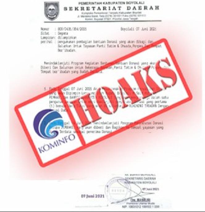 [HOAKS] Surat Pengumuman Pembagian Donasi Mengatasnamakan Pemerintah Kabupaten Boyolali