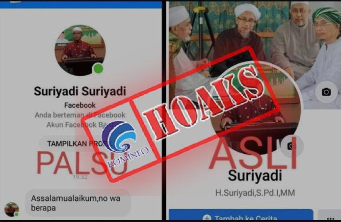 [HOAKS] Akun Facebook Mengatasnamakan Ketua Majelis Ulama Indonesia (MUI) Kabupaten Pulang Pisau, Kalimantan Tengah H. Suriyadi, S.Pd.I., M.M.