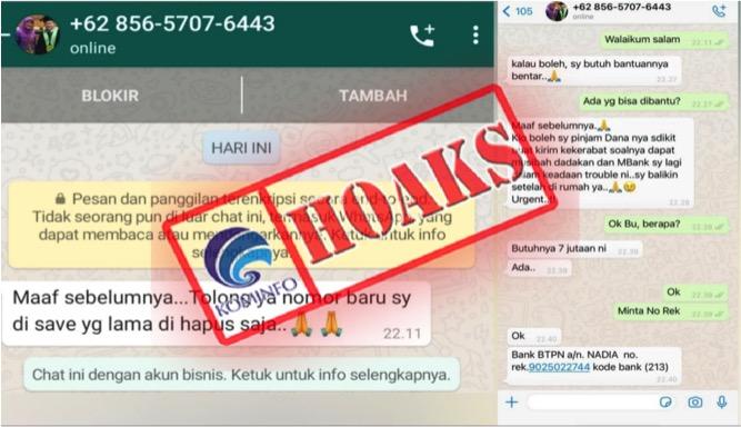 [HOAKS] Akun WhatsApp Palsu Mengatasnamakan Jubir Vaksin Covid-19 Kemenkes dr. Siti Nadia Tarmizi