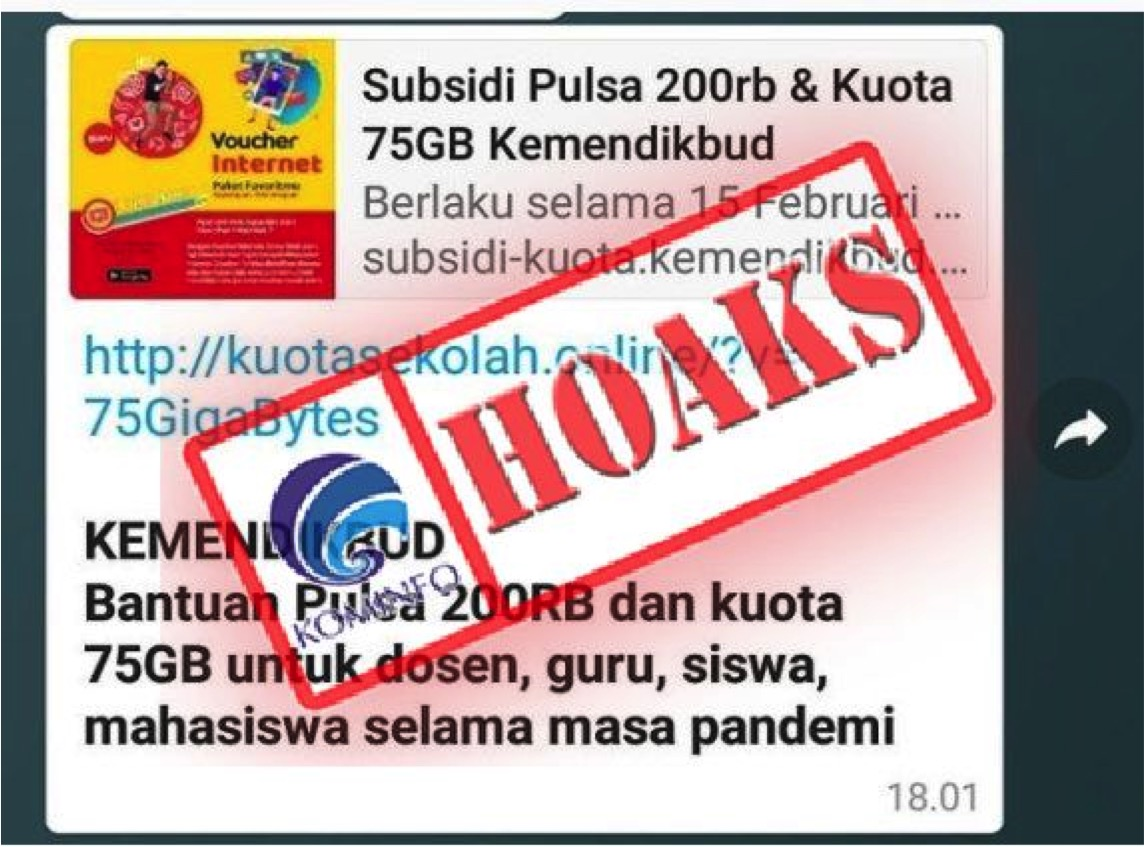 [HOAKS] Tautan Subsidi Pulsa dan Kuota Internet dari Kemendikbud
