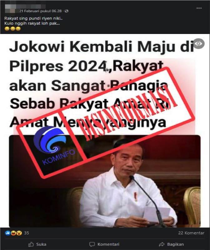 [DISINFORMASI] Jokowi Dikabarkan Kembali Maju di Pilpres 2024