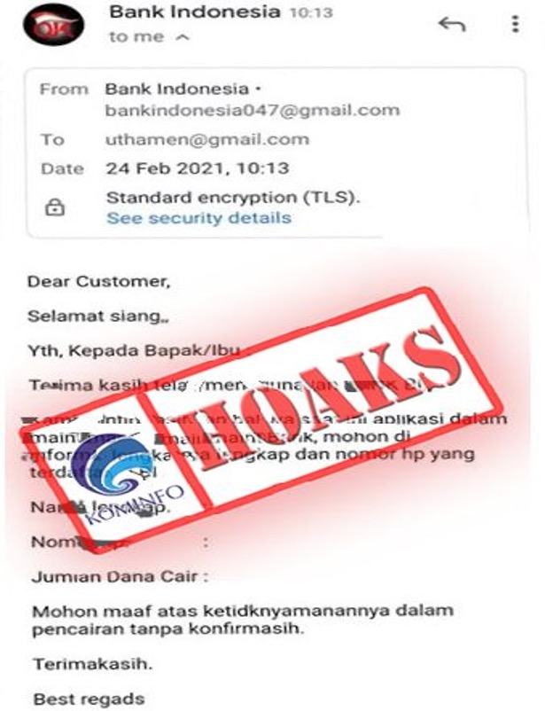 [HOAKS] Bank Indonesia Minta Data Pribadi Melalui Email