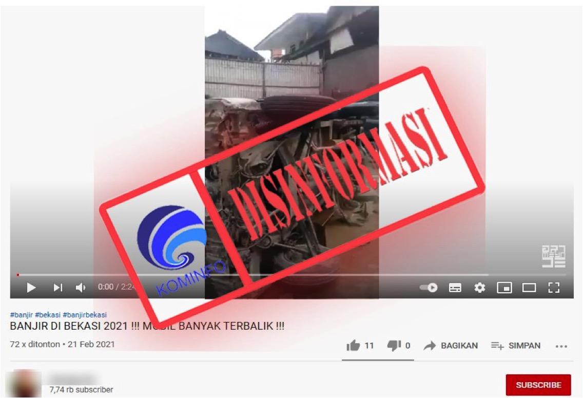 [DISINFORMASI] Video Mobil Terbalik setelah Banjir Surut di Bekasi