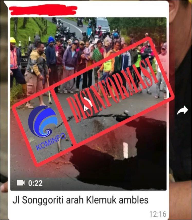 [DISINFORMASI] Video Jalan Amblas di Kawasan Songgoriti, Kota Batu, Malang