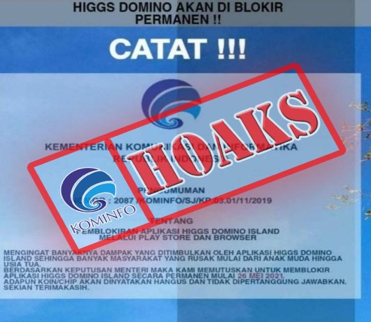 [HOAKS] Aplikasi Higgs Domino Island akan Diblokir Permanen oleh Kominfo