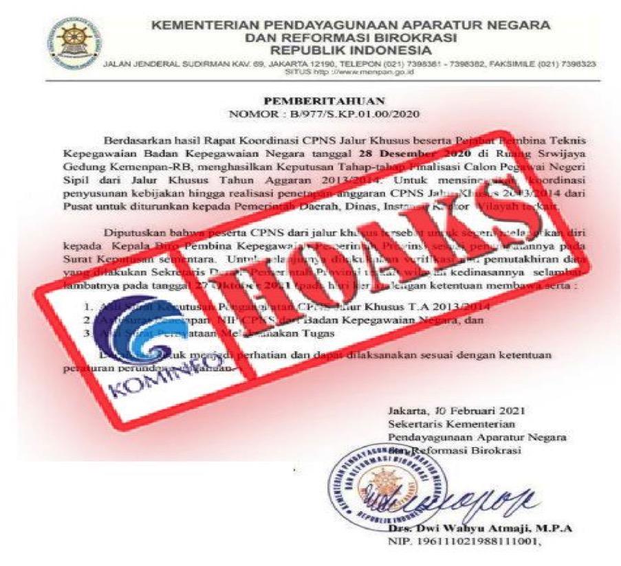 [HOAKS] Surat Pengangkatan CPNS Mengatasnamakan Kementerian PANRB