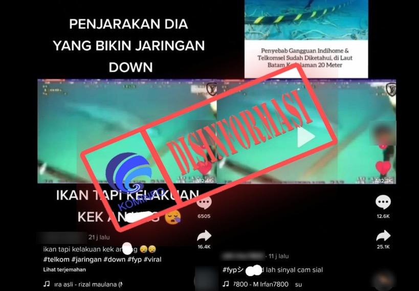 [DISINFORMASI] Video Rekaman Hiu Penyebab Jaringan Telkomsel Down