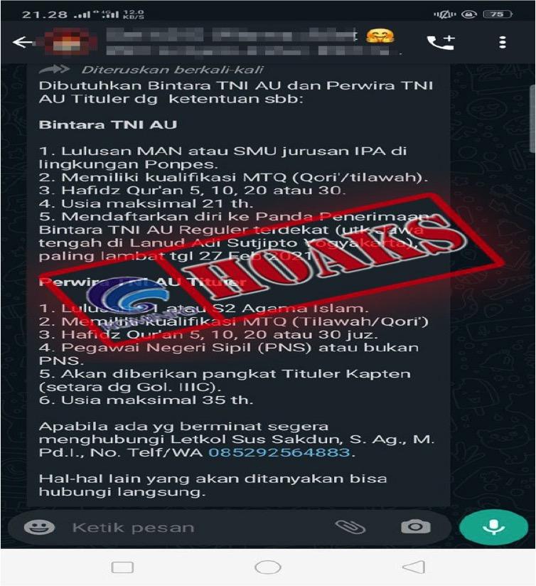 [HOAKS] Rekrutmen Prajurit TNI AU Tituler Tahun 2021