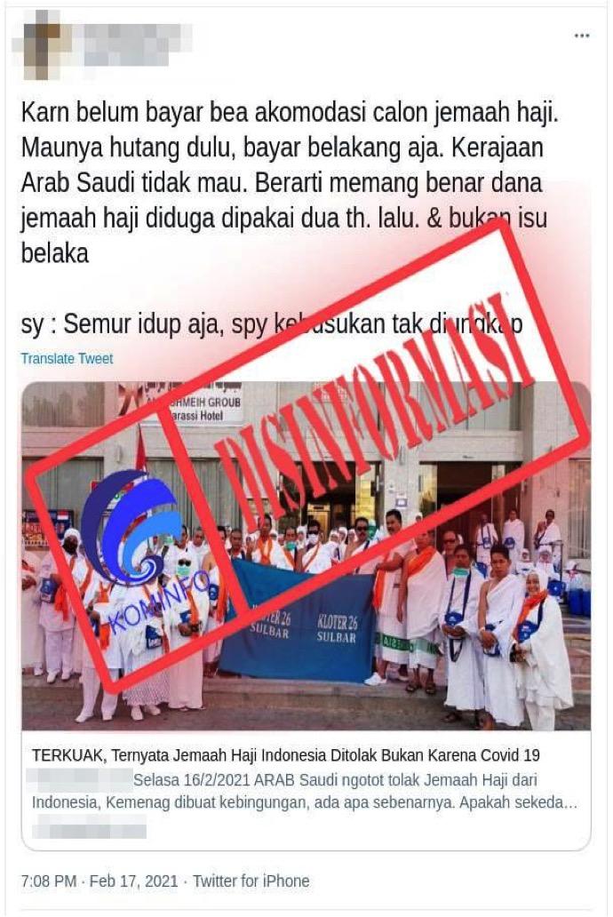 [DISINFORMASI] Arab Saudi Tolak Jemaah Haji Indonesia karena Belum Bayar Bea Akomodasi Calon Jemaah Haji