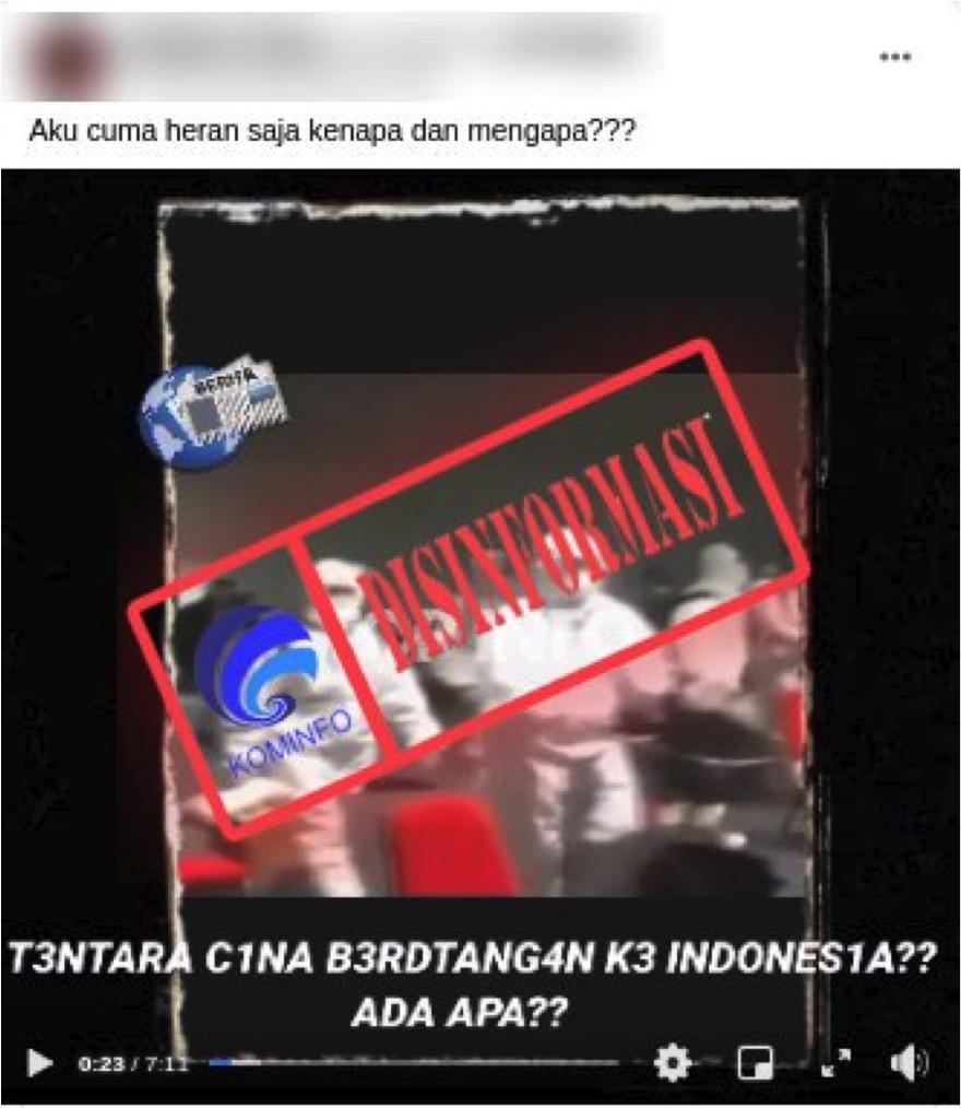 [DISINFORMASI] Menyamar dengan Baju Nakes, Tentara China Berhasil Masuk ke Indonesia