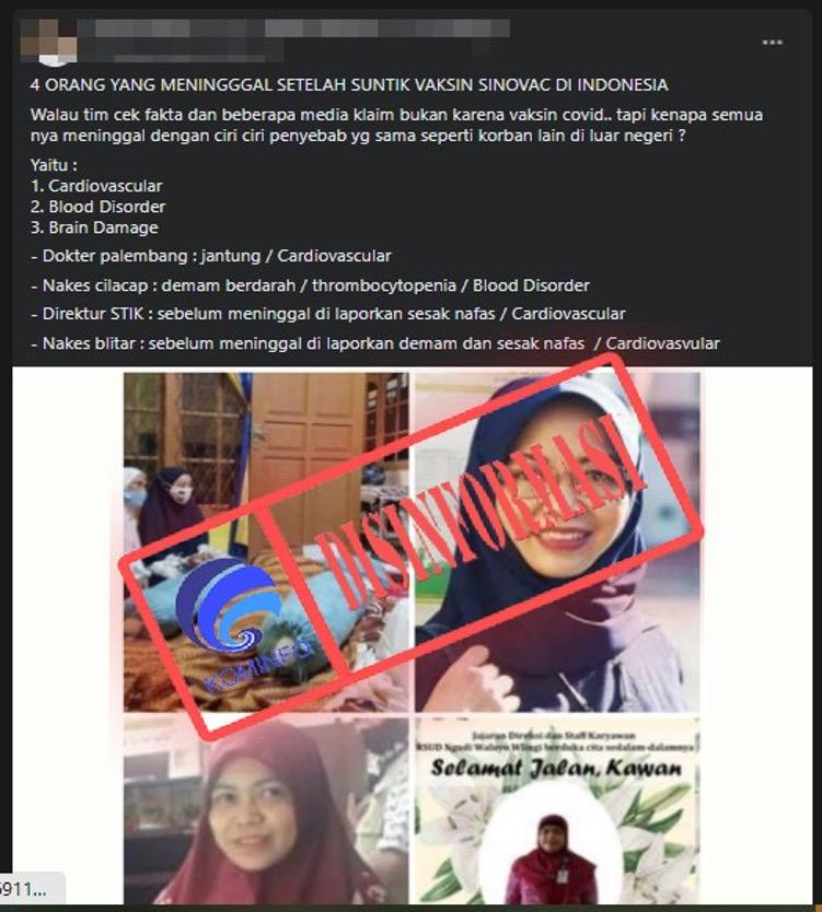 [DISINFORMASI] Empat Tenaga Kesehatan Indonesia Meninggal karena Vaksin Covid-19