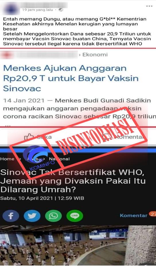 [DISINFORMASI] Vaksin Covid-19 Sinovac Ilegal karena Tak Bersertifikasi WHO