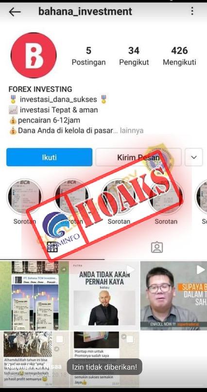 [HOAKS] Akun Palsu Instagram dan Telegram @bahana_investment