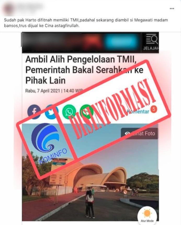 [DISINFORMASI] TMII Diambil Megawati dan Dijual ke Tiongkok