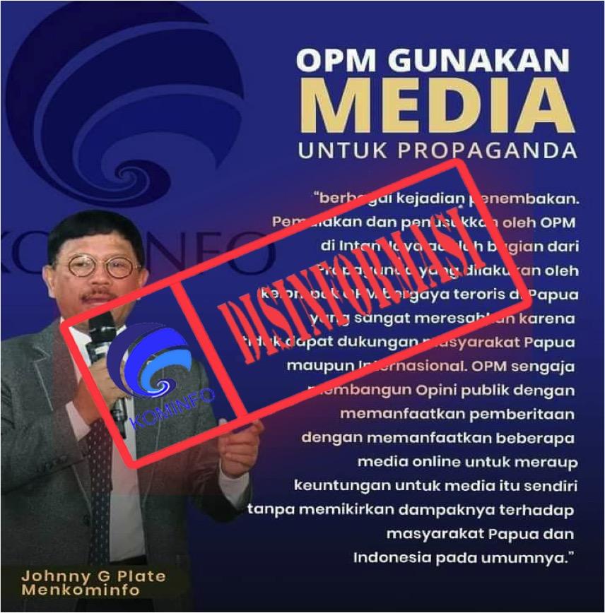 [DISINFORMASI] Pernyataan Menkominfo: OPM Gunakan Media Untuk Propaganda