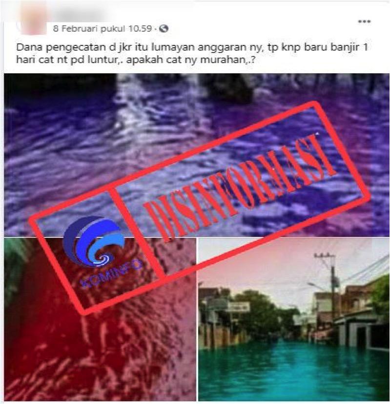 [DISINFORMASI] Banjir Air Warna-Warni di Jakarta karena Cat Luntur