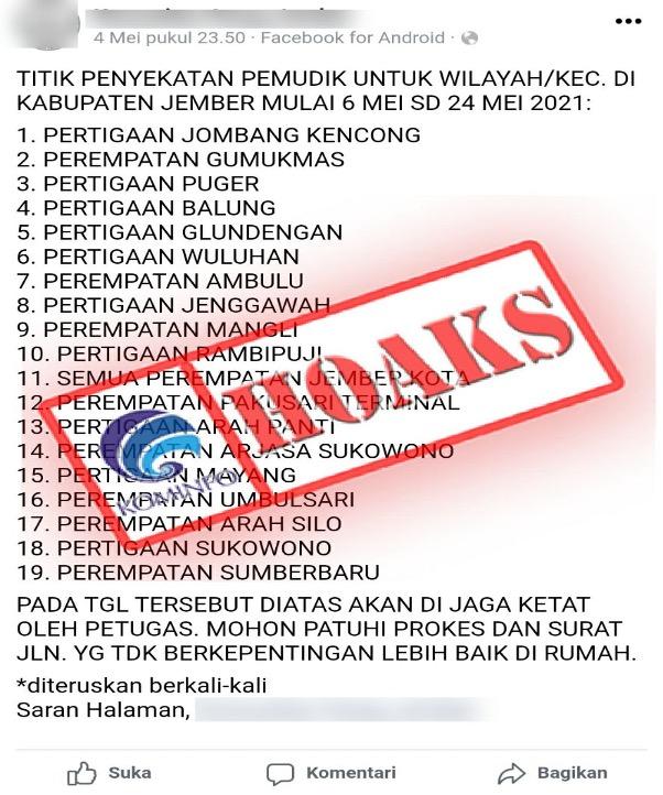 [HOAKS] Info 19 Titik Penyekatan Pemudik di Wilayah Kabupaten Jember