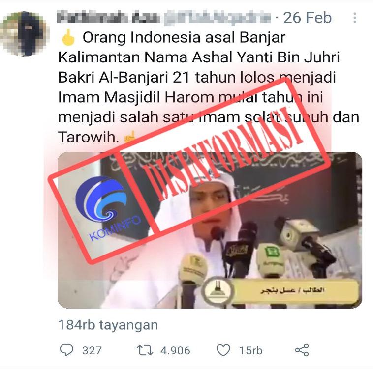 [DISINFORMASI] Salah Satu Warga Indonesia Terpilih Menjadi Imam Masjidil Haram