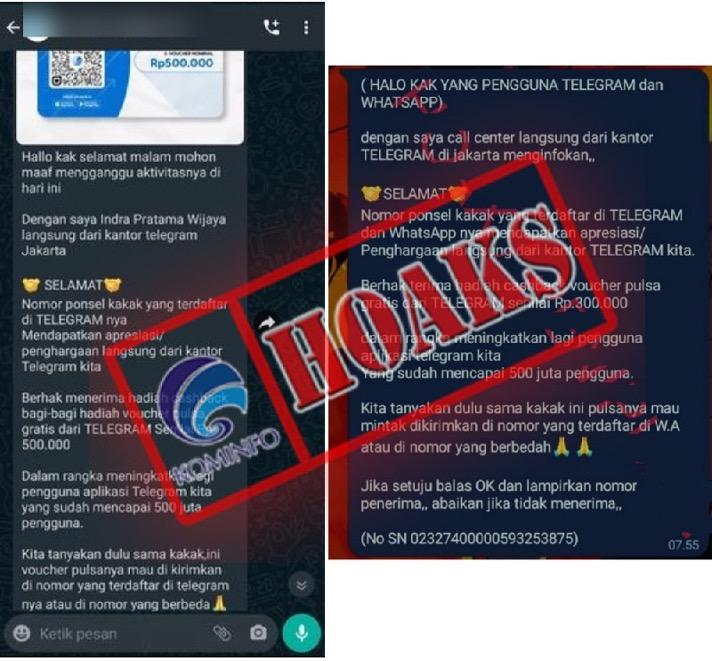 [HOAKS] Hadiah Pulsa 300-500 Ribu Rupiah dari Kantor Telegram