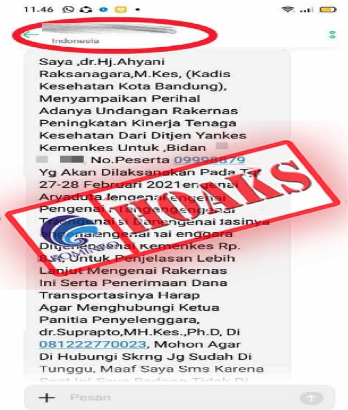[HOAKS] Undangan Rakernas Kadis Kesehatan Kota Bandung 27-28 Februari 2021