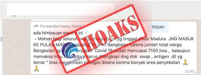 [HOAKS] Sebanyak 7.150 Warga Bangkalan Madura Terpapar Covid-19