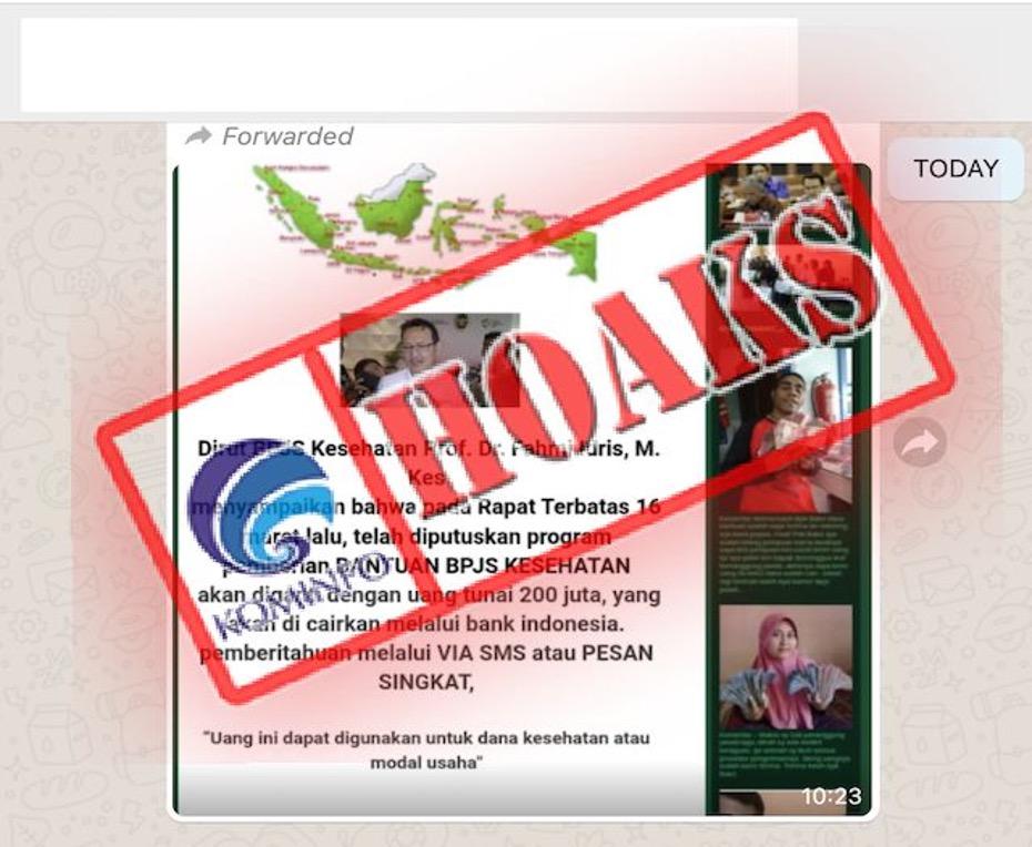[HOAKS] Program Bantuan BPJS Kesehatan Diganti dengan Uang Tunai Rp 200 Juta