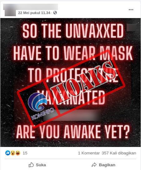 [HOAKS] Penggunaan Masker di AS untuk Orang yang Belum Divaksin