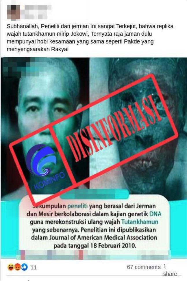 [DISINFORMASI] Replika Wajah Tutankhamun Mirip Jokowi
