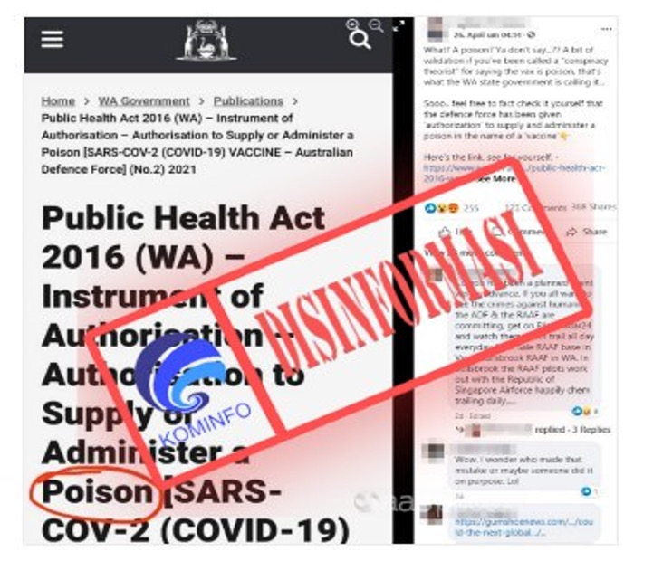 """[DISINFORMASI] Tulisan """"Racun"""" pada Dokumen Vaksin Covid-19 di Australia"""