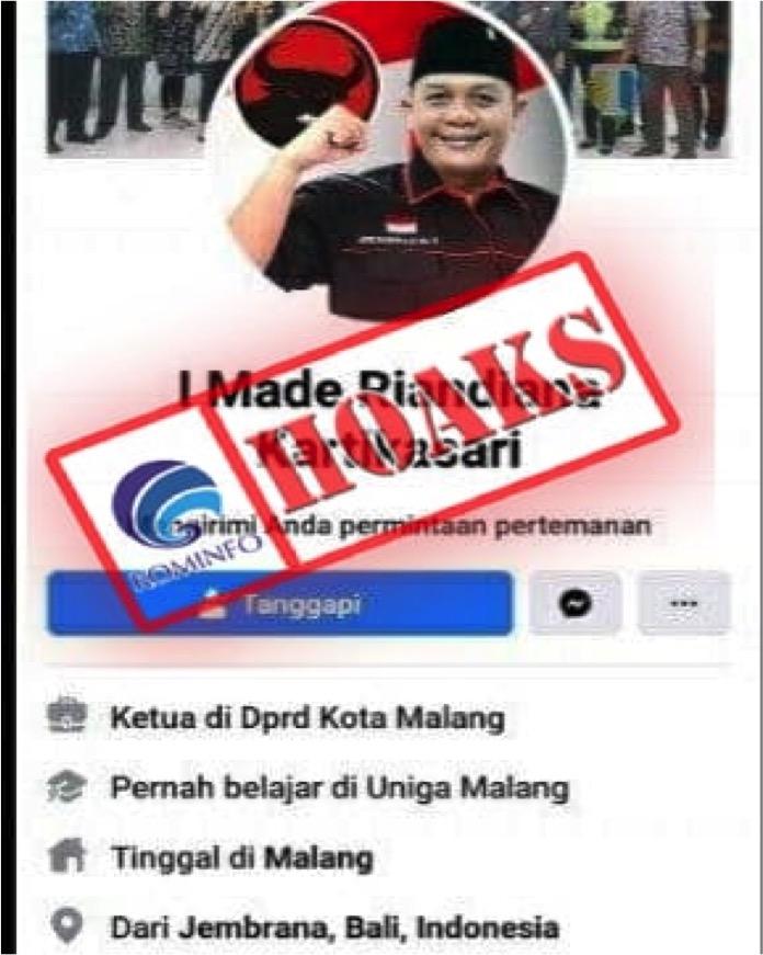 [HOAKS] Akun Facebook Mengatasnamakan Ketua DPRD Kota Malang