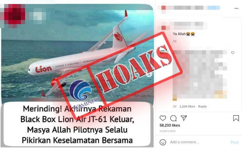 [HOAKS] Rekaman Suara Percakapan Pilot Lion Air JT-610 Keluar