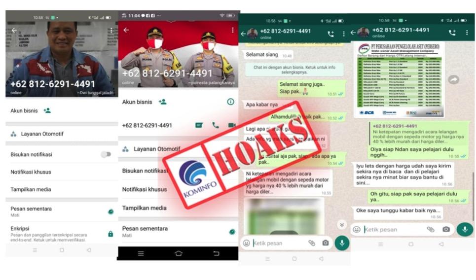 [HOAKS] Akun WhatsApp yang Mengatasnamakan Kapolresta Palangkaraya