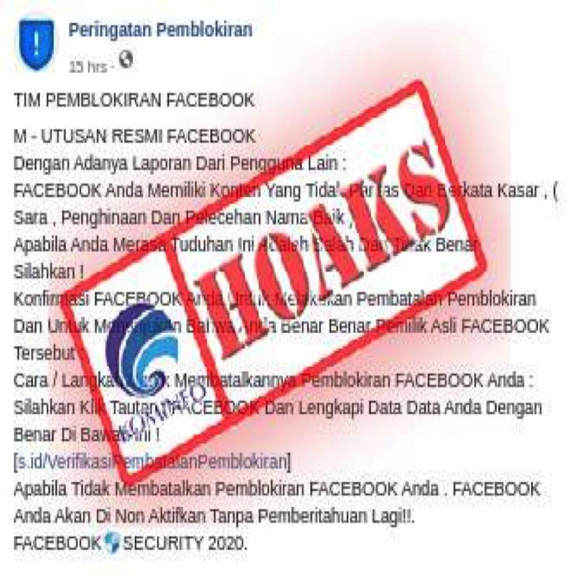 [HOAKS] Peringatan Pemblokiran oleh Tim Pemblokiran Facebook