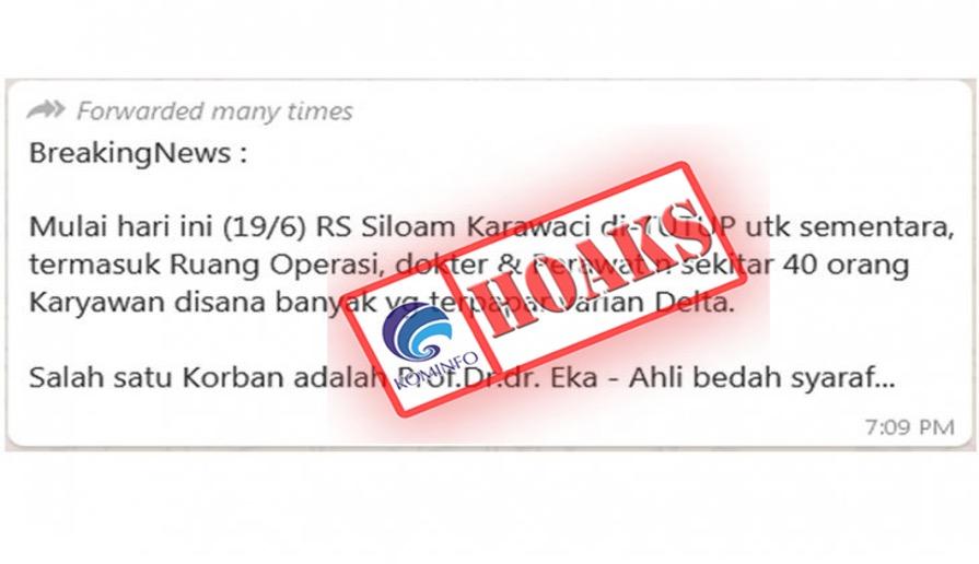 [HOAKS] RS Siloam Karawaci Tutup Karena Nakes Terkena Covid-19