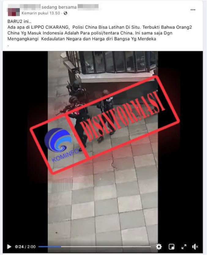 [DISINFORMASI] Polisi China Latihan di Lippo Cikarang