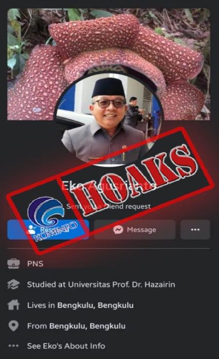 [HOAKS] Akun Facebook Mengatasnamakan Kepala Diskominfosan Kota Bengkulu Drs. Eko Agusrianto, M.Si.