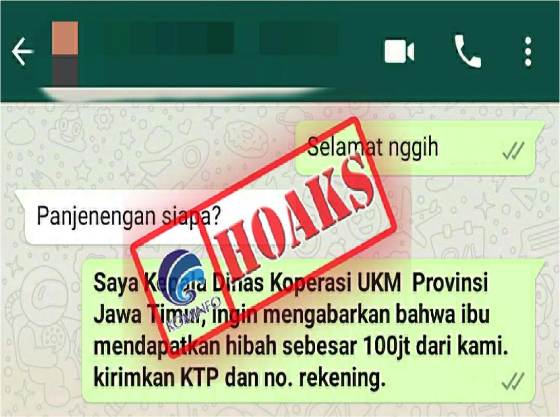 [HOAKS] Pemberian Dana Hibah Rp 100 Juta oleh Dinas Koperasi dan UKM Jawa Timur
