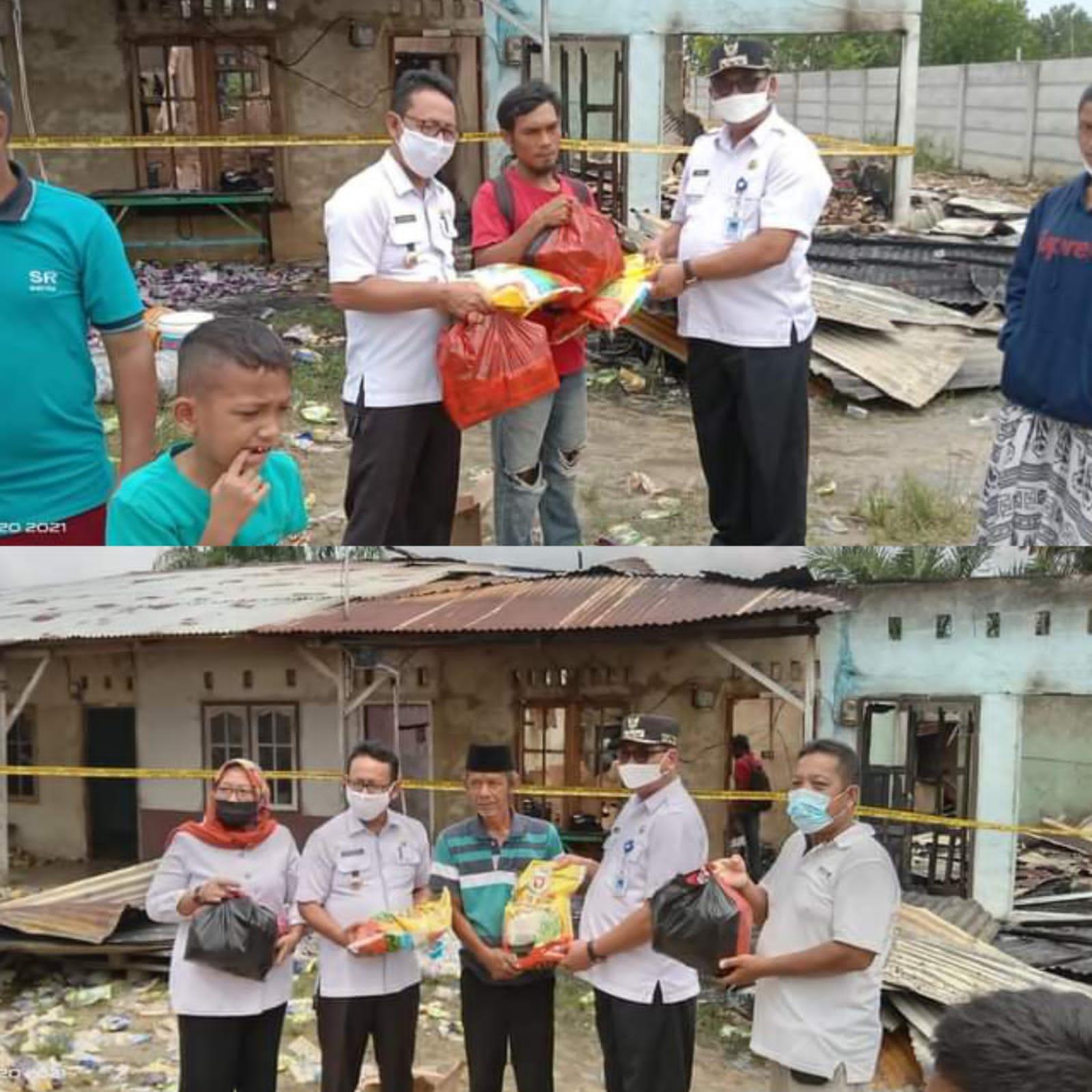 Pemcam Kelurahan Sialangrampai Bantu Korban Kebakaran