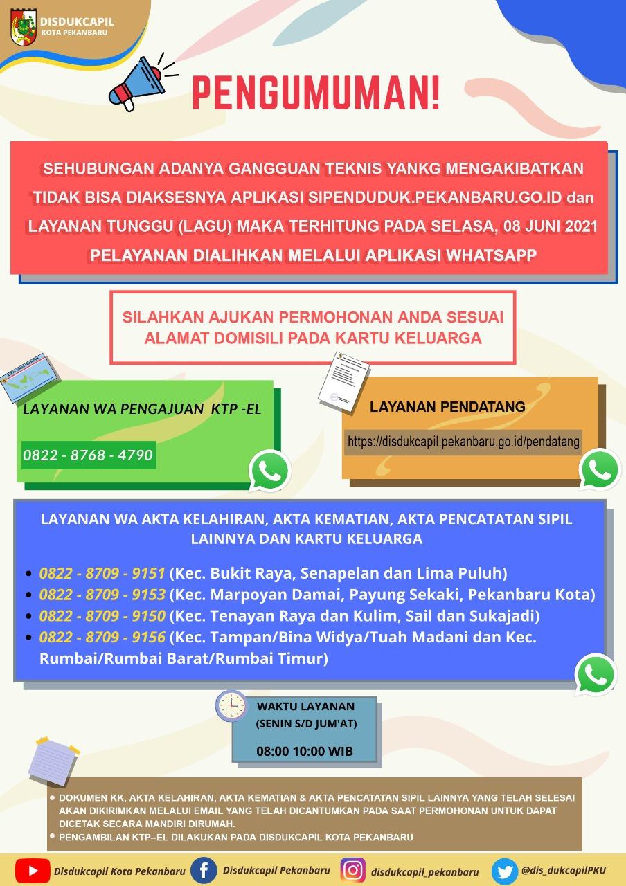 Beberapa Layanan DISDUKCAPIL Kota Pekanbaru Dialihkan Via Whatsapp