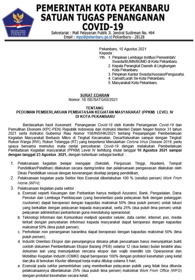 SURAT EDARAN TENTANG PEDOMAN PPKM LEVEL IV DI PEKANBARU (18 /SE/SATGAS/2021)