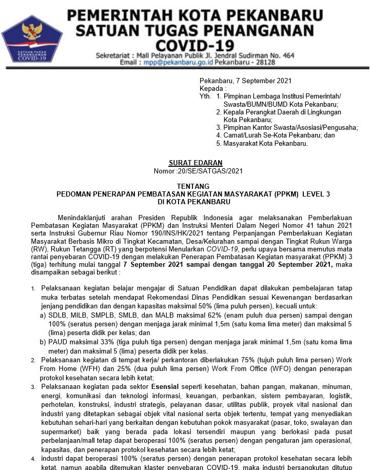 SURAT EDARAN TENTANG PEDOMAN PENERAPAN PPKM LEVEL III DI PEKANBARU (20/SE/SATGAS/2021)