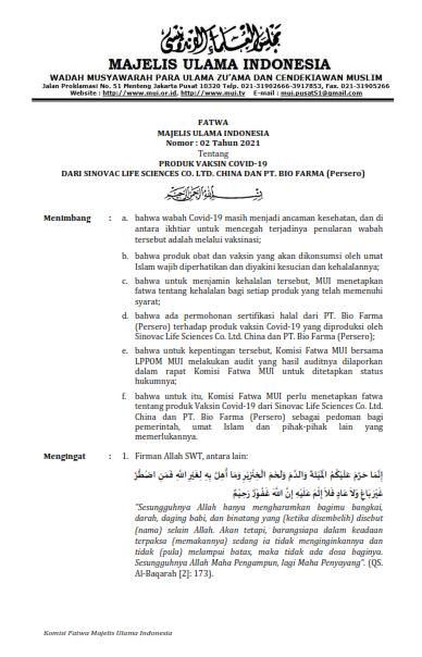 Image : Fatwa MUI Nomor : 02 Tahun 2021 tentang Produk Vaksin Covid-19 dari Sinovac Life Sciences Co. LTD. China dan PT. Bio Farma (Persero)
