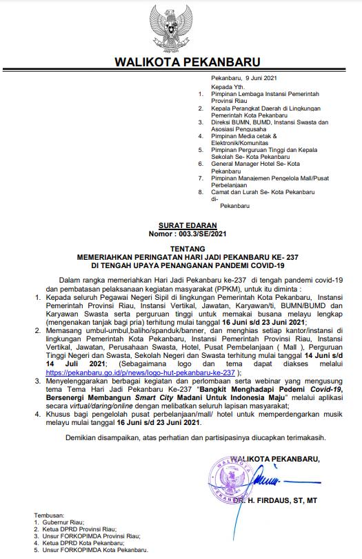 Surat Edaran Walikota Pekanbaru tentang Memeriahkan Peringatan Hari Jadi Kota Pekanbaru ke-237 di Tengah Upaya Penanganan Pandemi Covid-19