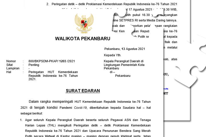 Surat Edaran Walikota Pekanbaru - Peringatan HUT Kemerdekaan Republik Indonesia ke-76 Tahun 2021