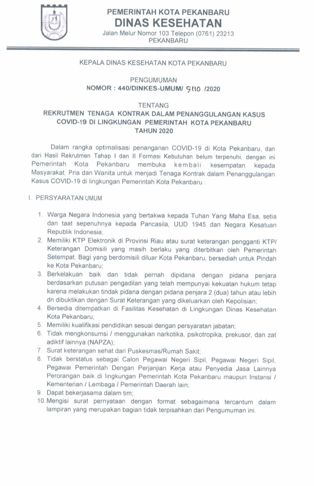 Rekrutmen Tenaga Kontrak Penanggulangan Covid - 19 Di Lingkungan Pemerintah Kota Pekanbaru Tahun 2020